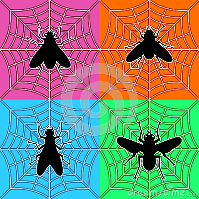 Flies in spiders web