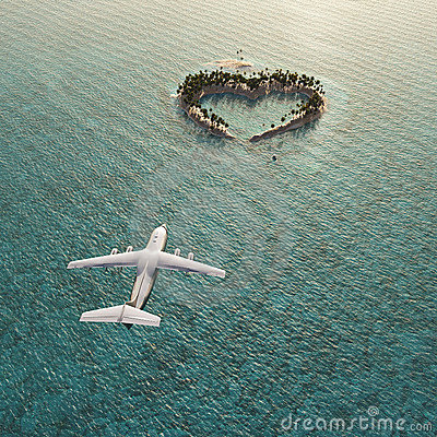 Flight above Heart-shaped island