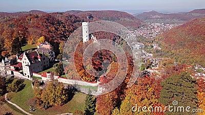Flight around Lichtenstein Castle, Germany. stock video footage