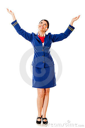Flight attendant with arms open