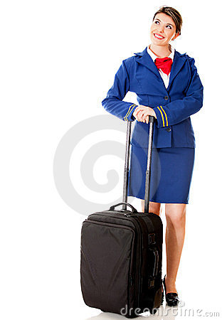 Flight attendant with bag