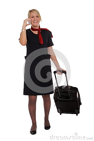 Flight attendant going to work