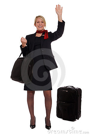 Flight attendant hailing a cab
