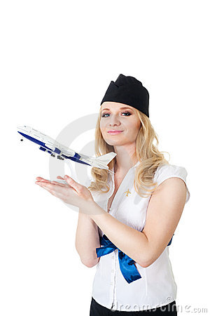 Flight attendant with model of aircraft
