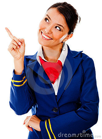 Flight attendant pointing