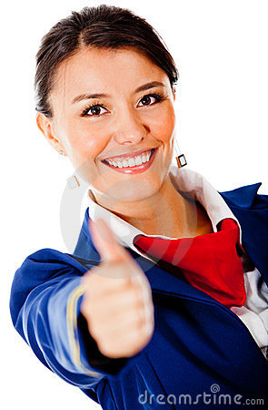 Flight attendant with thumbs up
