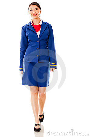 Flight attendant walking