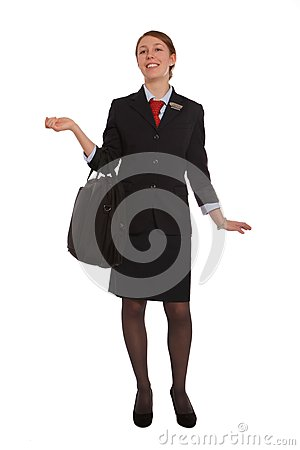 Flight attendant walking to her flight