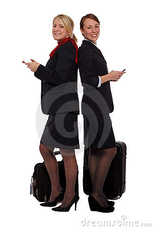 Flight attendants checking their email