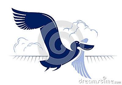 Flight bird. duck, pelican