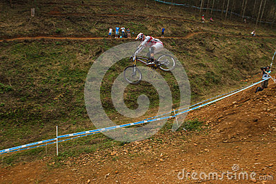 Flight Control Downhill Racer MTB Editorial Stock Photo