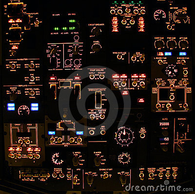 Free Flight Deck Overhead Panel Of A Modern Airliner. Royalty Free Stock Photo - 7111695