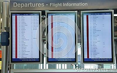 Flight Information Board At Dubai Airport Royalty Free