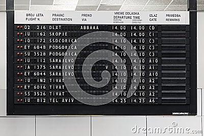 Flight information display at Belgrade airport Nikola Tesla Stock Photo