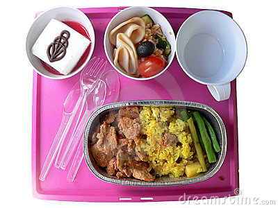 In-Flight meal. Asian Cuisine