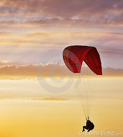Flight on an operated parachute