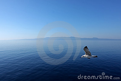 Flight over the Aegean Sea