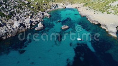 Flight over beautiful seashore at Mallorca stock video footage
