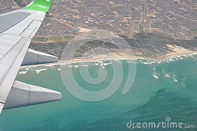 Flight over Cape town coast south Africa