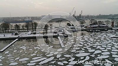 Flight over a frozen port stock video footage