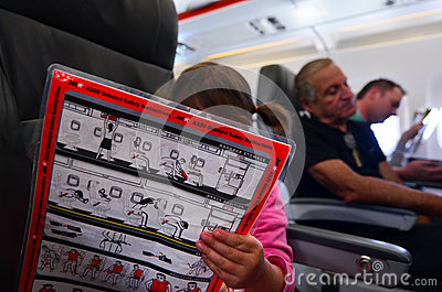 Flight safety instructions Editorial Photo