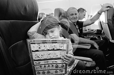 Flight safety instructions Editorial Stock Photo