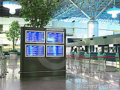 Flight schedule and check in counter