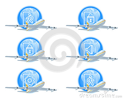 Flight status icon set
