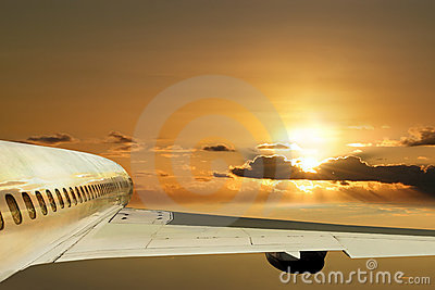 Flight in sunrise. Ahead future. Concept.