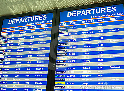 Flight timetable Editorial Stock Photo