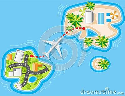 Flight to sea resort