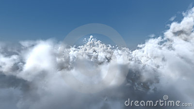 Flight through the white clouds