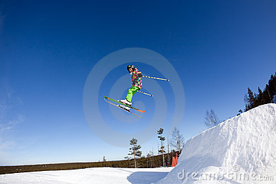 Flight of young skier Editorial Image