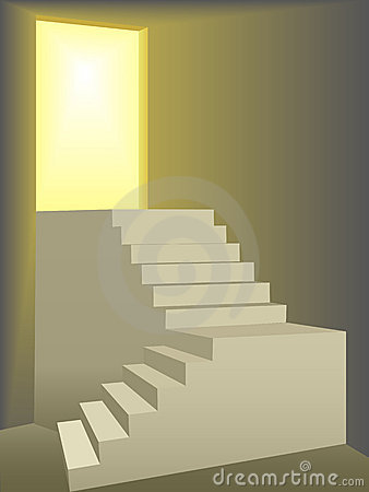 Flights of stairs up to a bright sun lit door