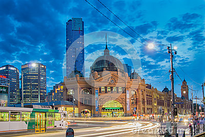 Flinders Street Station in Melbourne at night Editorial Photo