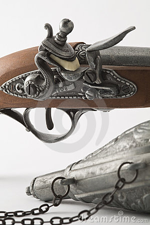 Flintlock Pistol and Gunpowder Flask.