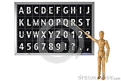 Flip Alphabet on a school blackboard
