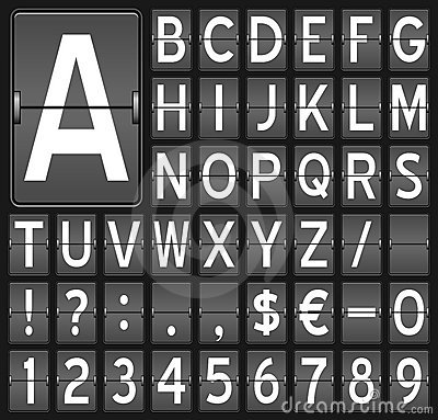 Flip Board Letters & Numbers Royalty Free Stock Images - Image: 21493569