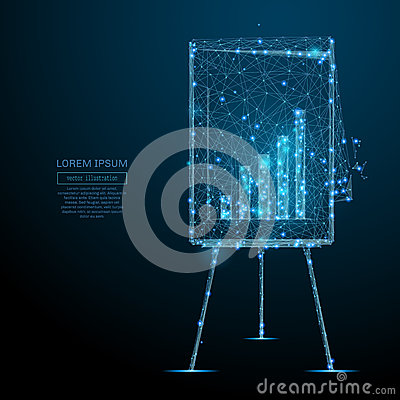 Free Flip Chart With Diagram Low Poly Blue Stock Photos - 91160993