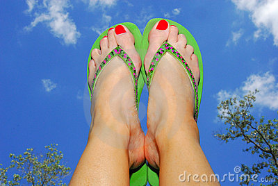 Flip Flop and Feet in Air