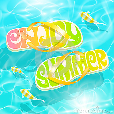 Free Flip-flop With Summer Greeting Stock Photos - 40288973