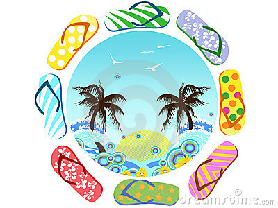 Flip Flops Around Summer Royalty Free Stock Photography - Image: 22421817