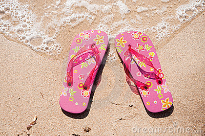 Flip flops at the beach