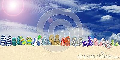 Flip flops, beach