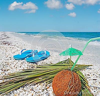 Flip flops and coconut