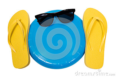 Flip Flops Frisbee and Sunglasses