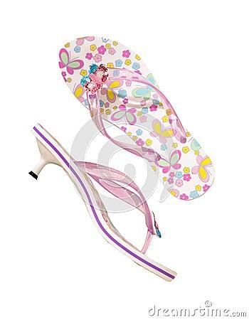 Flip-flops with heels