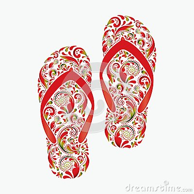 Flip flops, made of the leaf pattern.