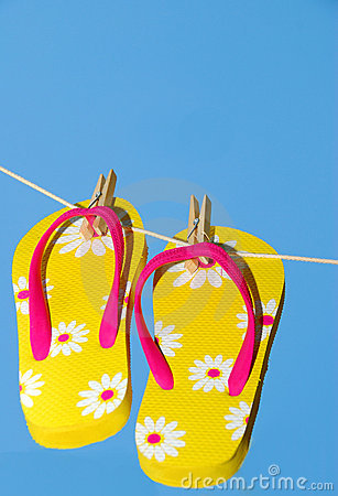 Free Flip Flops On Clothes Line Royalty Free Stock Photography - 2362197
