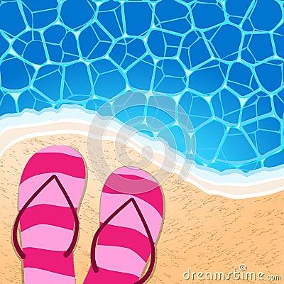 Flip-flops by the seaside